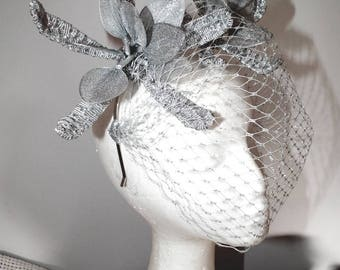 SILVER AURA new spring racing trends metallic headcrown fascinator crown handcrafted art woven swissbraid metal veil melbourne cup unique