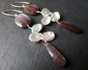Chocolate Moonstone & Petal Pearls GLAM LUXE - Sterling Silver Gemstone Earrings - Etsy Accessories - catROCKS - Grace Frankie - Luminous