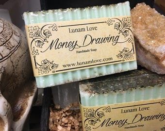 MONEY DRAWING Bar Soap // Basil Essential Oil // Patchouli // Natural Soap // Ritual Soap // Wiccan // Pagan // Witchcraft