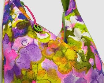 hobo bag, Repurposed purse, upcycled purse, recycled purse, boho bag, crossbody bag, bohemian bag, hipster bag, festival bag, slouch bag