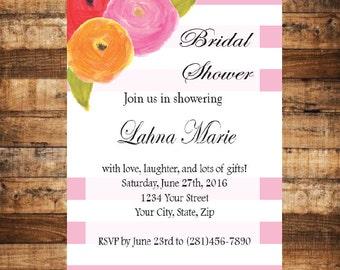 Bridal Shower Invitation- Pink Invitation- Floral Invitation - Pink Bridal Digital Invitation