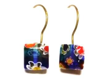 Earrings, Dangle, Blue, Flowers, Brass, 8mm, Gift