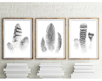Feathers, Set of 3 Prints, Black and White Prints, Digital Download of Watercolor Art, Feather Print, Watercolor Feathers, Art, Wall Art, 21