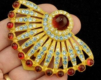 Large Colorful Art Deco 1930s Rhinestone Dress Clip VG Condition ~ Lot 2149