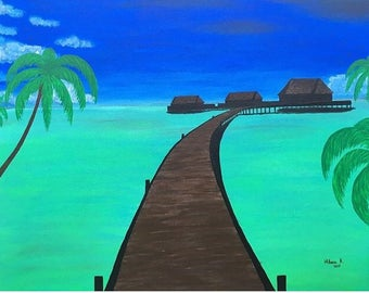 Vacation time.Acrylic on canvas panel painting . 51cm x 41cm