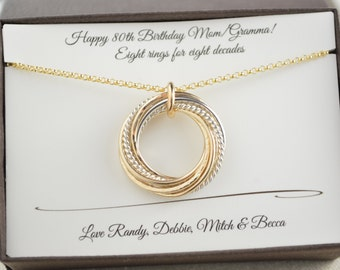 80th Birthday gift for mom and grandma, 8 Mixed metal rings necklace, 8th Anniversary gift for women,Gold filled russian style necklace