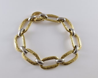 18K Yellow and White Gold Textured Large Link Bracelet