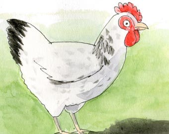 White Hen Greetings Card