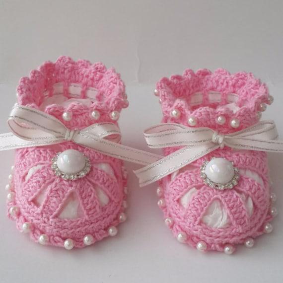 Gehäkelte Babyschuhe Babyschuhe mit Perlen Babyschuhe aus