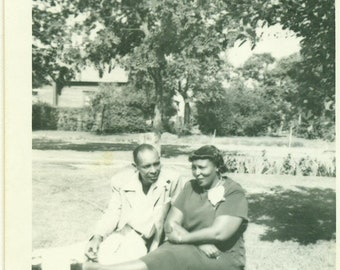 1940s Still in Love African American Black Couple Sitting on Grass 40s Vintage Photograph Black White Photo