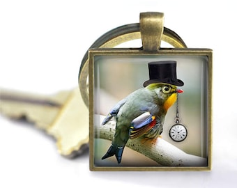 The Time Keeper - Steampunk Bird Pendant, Necklace or Key Chain - 1 Inch Square - Choice of Silver, Bronze, Copper or Black Bezel