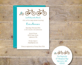 Bicycle Baby Shower Invitations, Bikes, Tricycle,  Baby Shower, IBaby Shower Invitations, Bike Invitation,  New Baby, Birth Announcements