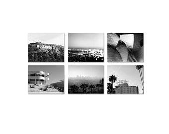 SALE, California Print Set - Los Angeles Photography - Black & White Office Decor - Classic Hollywood Photo Set
