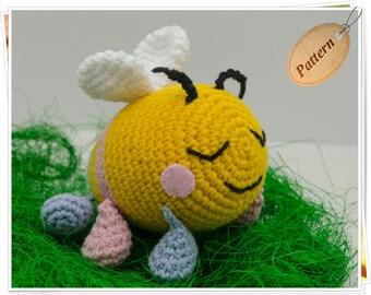 Crochet Bee Pattern, Amigurumi Bee Pattern, Bee Stuffed Toy Tutorial, Bee PDF, Bee Toy Pattern, Orange and Blue Bee Tutorial, Bee Doll PDF