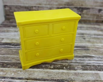 Superior T Cohn  Chiffarobe Dresser Drawers Doll House Toy  Hard Plastic  Yellow large scale