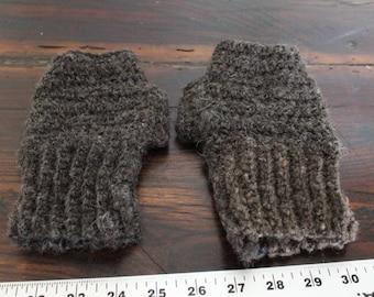 Crocheted mitts, made from handspun cormo lamb single ply yarn