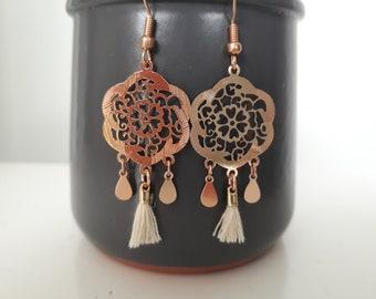 Flower rose and tassel earrings
