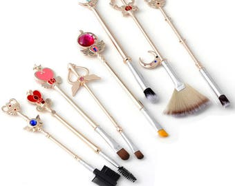 FREE SHIPPING - Sailor Moon Makeup Brushes Brush Set - CHAMPAGNE