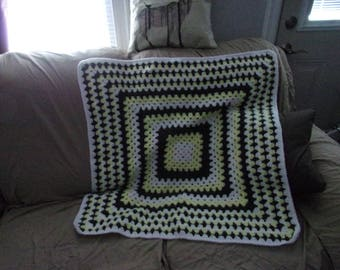 Yellow and Charcoal Baby Granny Square Blanket