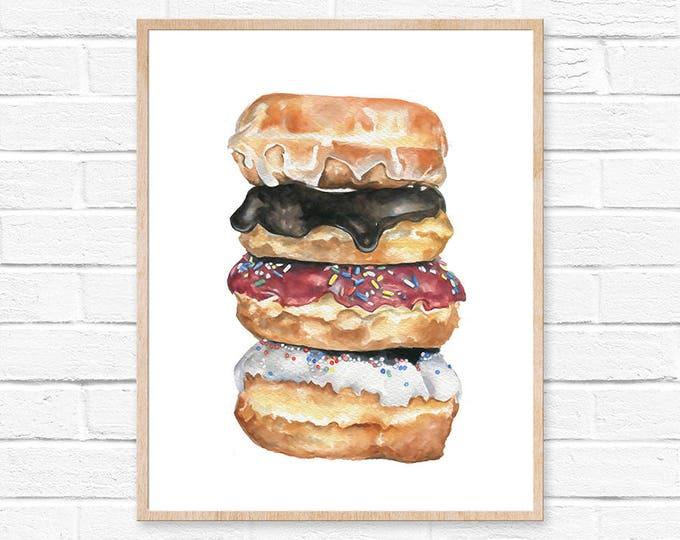 Featured listing image: Donut Print No.1 Donut Wall Art Sweets Print Food Art Print Doughnut Print Kitchen Decor Doughnut Illustration Doughnut Wall Art Foodie Art