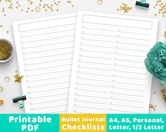 Bullet Journal Checklists, Bullet Journal To Do List, Bujo Printable To Do List, Daily Schedule, Planner Inserts, Journal Template, A4, A5