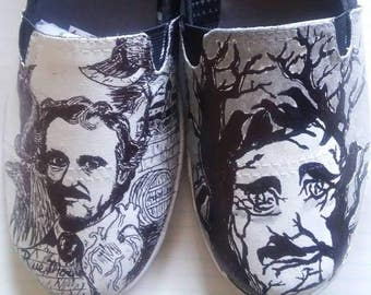 Edgar Allan Poe hand painted shoes