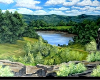 """Acrylic painting, countryside landscape with trees and bushes, Blue Lake, rocks """"from top of the 3 rocks"""""""