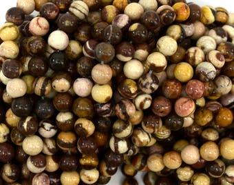 "6mm brown zebra jasper round beads 15.5"" strand 38972"