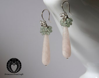 Frosted rose quartz with green aventurine earrings