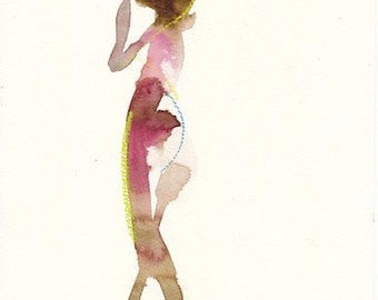 "Femme 131 original figure gesture watercolor and pastel 7.5"" x 10.5"" Unframed"