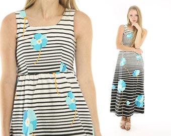 Vintage 70s Maxi Dress Sleeveless Sundress Cotton Floral Hippie Bohemian 1970s Medium M Black White Striped Dress Leagen