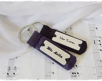 Personalized Leather Key-Chain, Custom Key-Chain, Rustic Leather Key Ring, Custom Key Fob, Men's Leather Keychain, His & Hers Key Ring