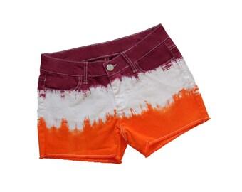 Orange + Maroon Tie-Dye Shorts