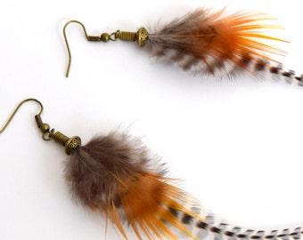 Feather earrings Eyota - Feather - ethnic jewelry Ethnic - Indian jewelry - grizzly