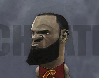 LEBRON JAMES, Cleveland Cavaliers Art Photo Print