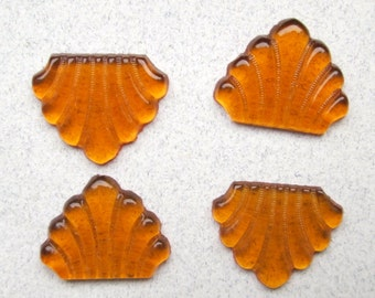 4 Vintage Deco Amber Glass Cabochons