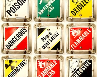 Vintage Metal Sign with 9 Changeable Flip Signs - Poison, Dangerous, Flammable, Radioactive, etc. (c.1980s) - Industrial, Man Cave Decor