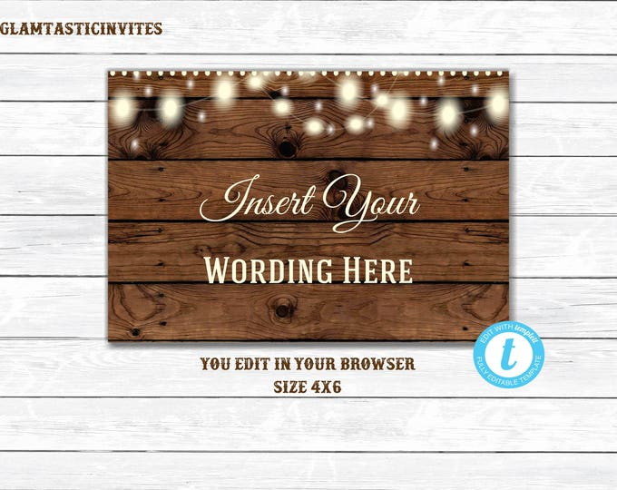 Rustic Insert, Printable, Editable, Rustic Template, Rustic Wedding Insert, You Edit, Rustic, Wood, Digital, Instant Download, Template, DIY