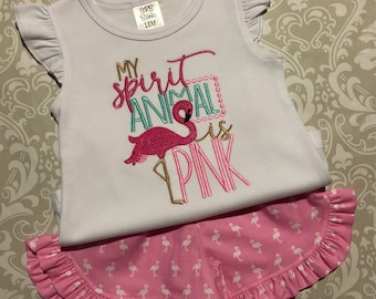 My spirit animal is pink embroidered flamingo shirt, pink flamingo shorts, girls flamingo tee, toddler beach apparel