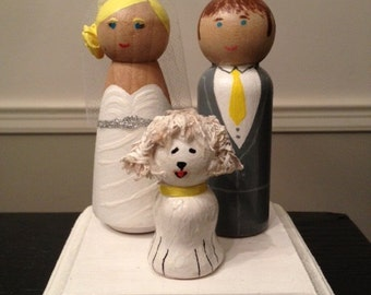 Unique Made to Order Bride and Groom Wood Peg Doll Wedding Cake Toppers - Dog (Pet) Lovers