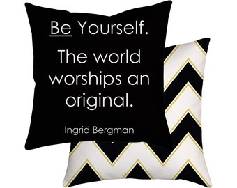 Famous Quote Pillow, Throw Cushion Cover, Ingrid Bergman, Black & White Decor, Chevron
