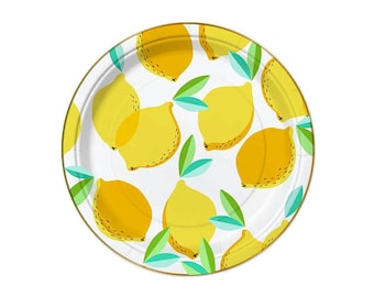 Lemon Paper Plates - birthday party paper plates lemonade gold foil fruit