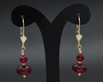 New 14K Solid Yellow Gold Round ruby Bead Drop leverback Earrings