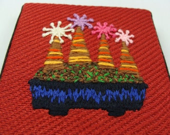 Hand Embroidered Wall Hanging Bonsai - ready to hang, colorful decoration, great for gift, home decor, custom work available