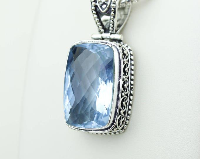 Classy Design Swiss Blue Topaz 925 S0LID Sterling Silver Pendant + 4MM Snake Chain & Worldwide Shipping p4204