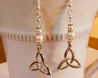 Celtic earrings silver and white