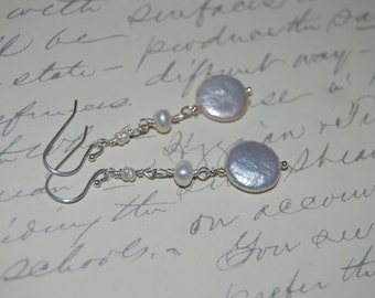 Natural White Freshwater Pearls  Wire Wrap Dangled Earrings.