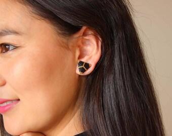 Black Stud Earrings, Gold Stud Earrings, Minimalist Earrings, Tiny Studs