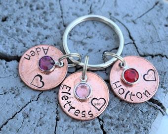 Personalized penny family keychain with swarovski birthstones.  Children's names penny keychain, penny keychain, christmas gift keychain