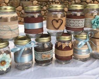 11 Decorated Mason Jars, favors, Decorated Jars